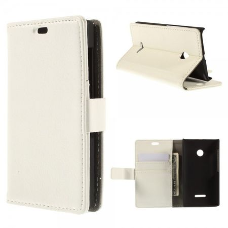 Microsoft Lumia 532/532 Dual Leder Case mit Litchimuster - weiss