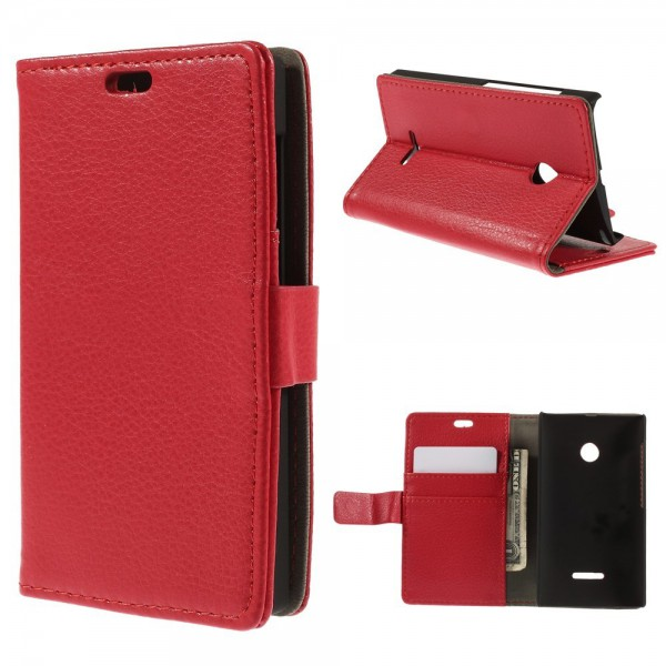 Microsoft Lumia 532/532 Dual Leder Case mit Litchimuster - rot