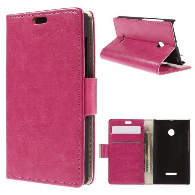 Microsoft Lumia 532/532 Dual Crazy Horse Leder Case - rosa