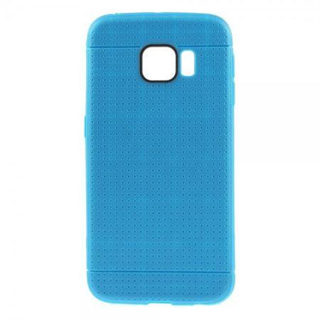 Samsung Galaxy S6 Edge Elastisches Plastik Case mit Gittermuster - dunkelblau