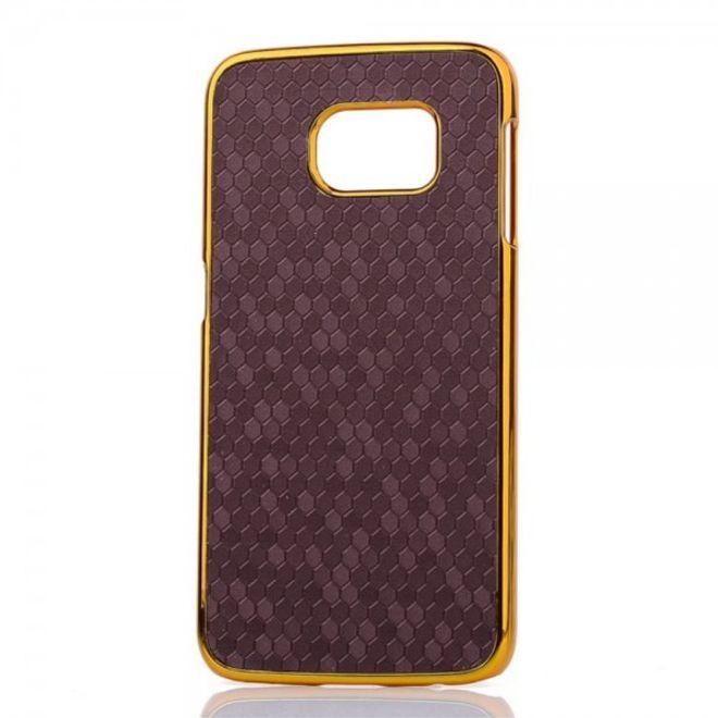 Samsung Galaxy S6 Edge Hart Plastik Case mit lederartiger Oberfläche und Fussballmuster - purpur