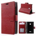 Microsoft Lumia 532/532 Dual Echtleder Case mit Kreditkartenschlitz - rot