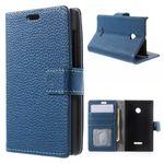 Microsoft Lumia 532/532 Dual Echtleder Case mit Kreditkartenschlitz - blau