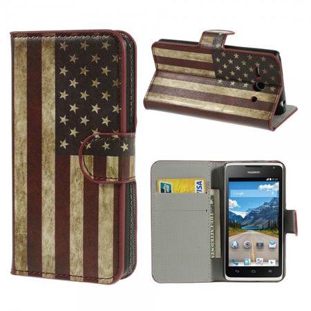 Huawei Ascend Y530 Leder Case mit USA Flagge retro-style