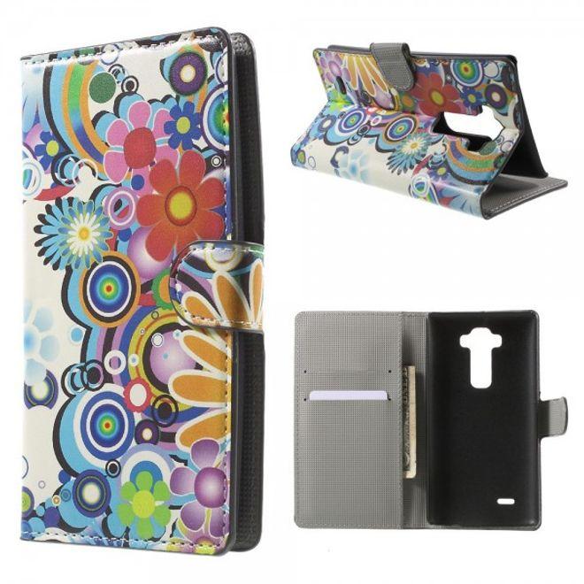 LG G Flex 2 Leder Case mit farbigen Blumen - weiss