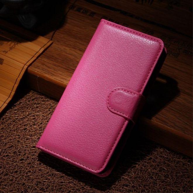 Sony Xperia M2 Aqua Modisches Leder Case mit Kreditkartenschlitz - rosa