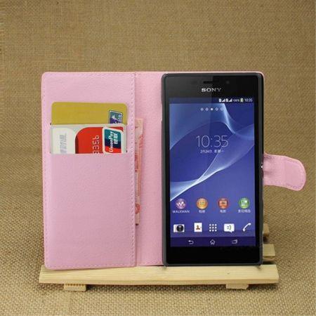 Sony Xperia M2 Aqua Modisches Leder Case mit Kreditkartenschlitz - pink