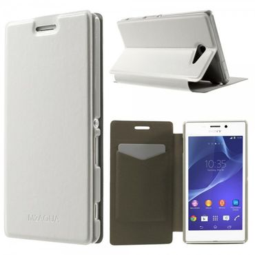 Sony Xperia M2 Aqua Crazy Horse Leder Case mit Standfunktion - weiss