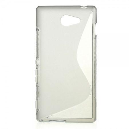 Sony Xperia M2 Aqua Elastisches Plastik Case S-Shape - grau