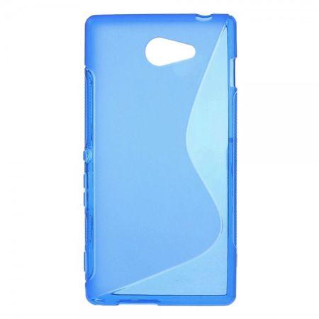 Sony Xperia M2 Aqua Elastisches Plastik Case S-Shape - blau