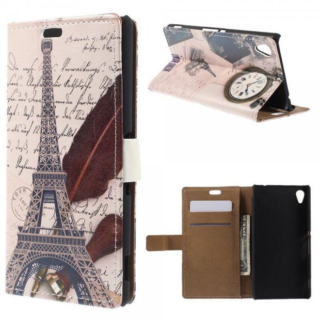 Sony Xperia M4 Aqua Leder Case mit Eiffelturm und Uhr