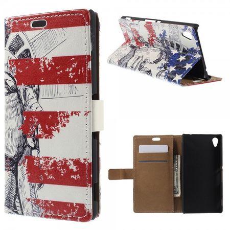 Sony Xperia M4 Aqua Leder Case mit Freiheitsstatue und USA Flagge
