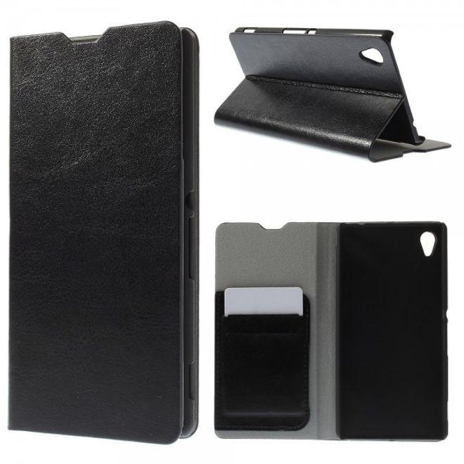 Sony Xperia M4 Aqua Crazy Horse Leder Case mit Standfunktion und Kreditkartenslots - schwarz