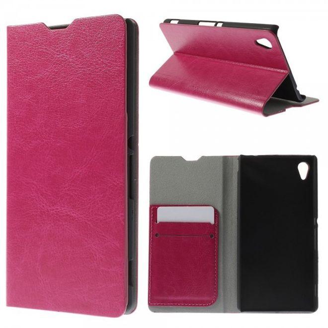 Sony Xperia M4 Aqua Crazy Horse Leder Case mit Standfunktion und Kreditkartenslots - rosa