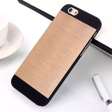iPhone 6 Plus/6S Plus Motomo Hart Plastik Case im Aluminium Look - gold