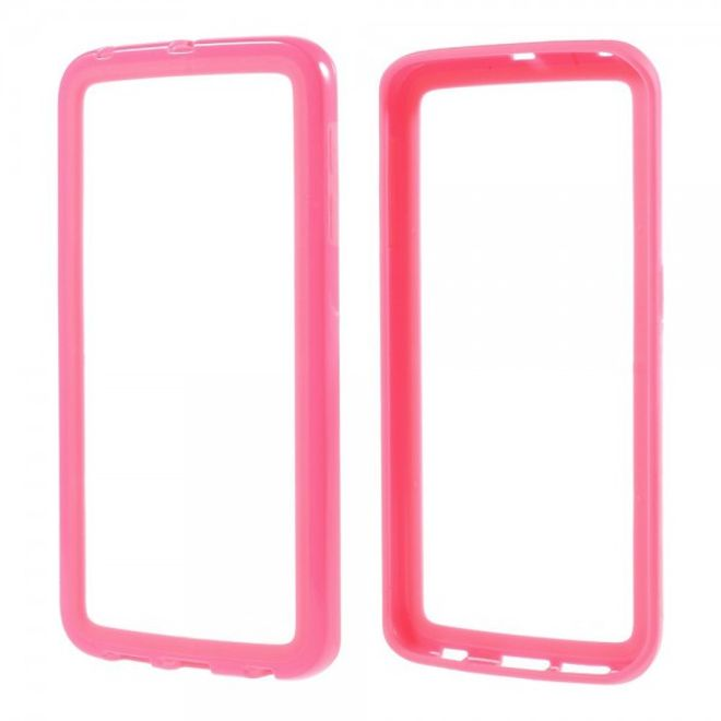 Samsung Galaxy S6 Edge Elastischer, schlichter Plastik Bumper - pink