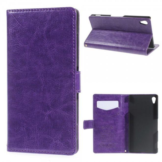 Sony Xperia Z4 Leicht glänzendes Leder Case mit Standfunktion - purpur