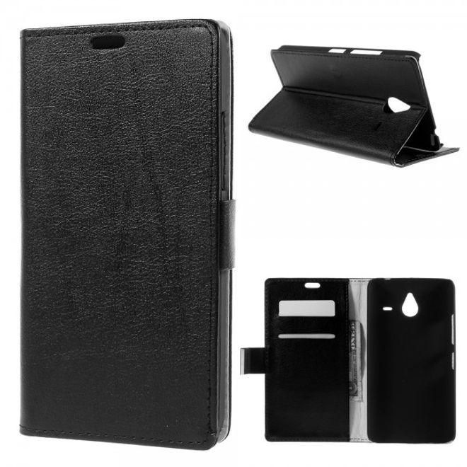 Microsoft Lumia 640 XL/640 XL Dual Leder Case mit Litchitextur - schwarz