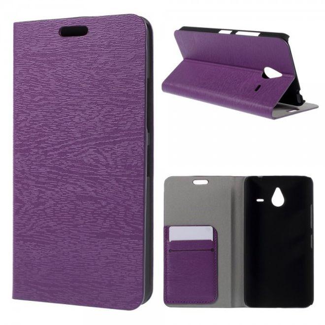 Microsoft Lumia 640 XL/640 XL Dual Leder Case mit Holzmuster - purpur