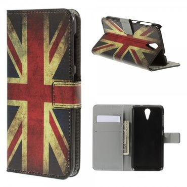 HTC Desire 620/820 Mini Leder Case mit Union Jack Flagge retro-style