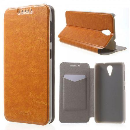 HTC Desire 620/820 Mini Crazy Horse Leder Case mit Kreditkartenslots - orange