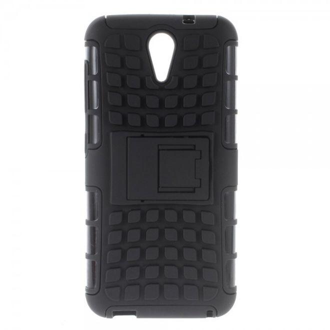 HTC Desire 620/820 Mini Robustes Hart Plastik Case mit Standfunktion - schwarz