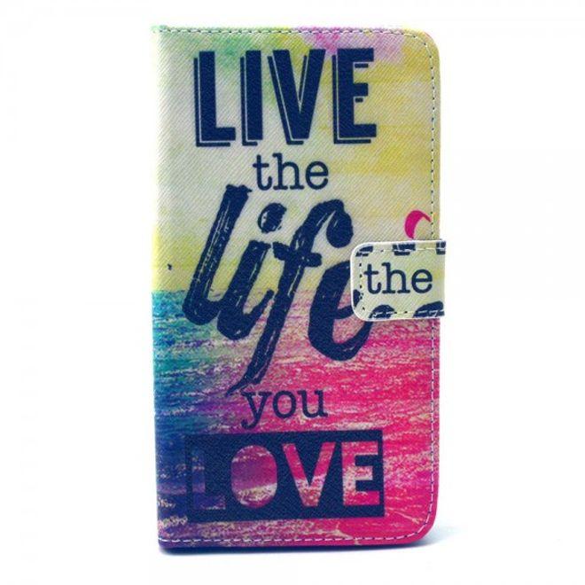 LG G4 Leder Case mit Schriftzug Live the life you love