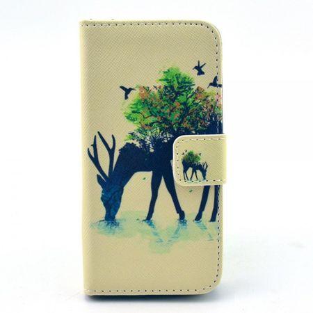 Samsung Galaxy S4 Mini Leder Case mit grasendem Hirsch