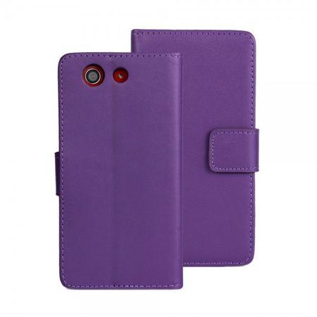 Sony Xperia Z3 Compact Schickes Echt- und Kunstleder Case - purpur