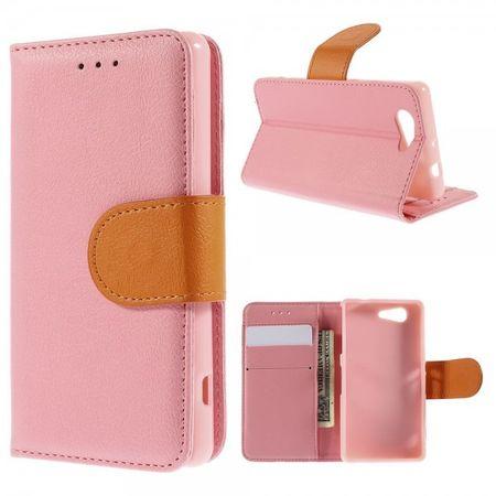Sony Xperia Z3 Compact Leder Case mit Kontrastfarben - pink