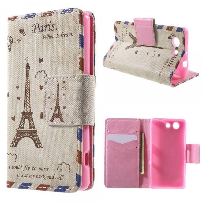 Sony Xperia Z3 Compact Leder Case mit Cartoon Eiffelturm