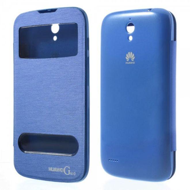 Huawei Ascend G610 Leder Flip Case mit Plastik Backcover und zwei kleinen Fenstern - hellblau