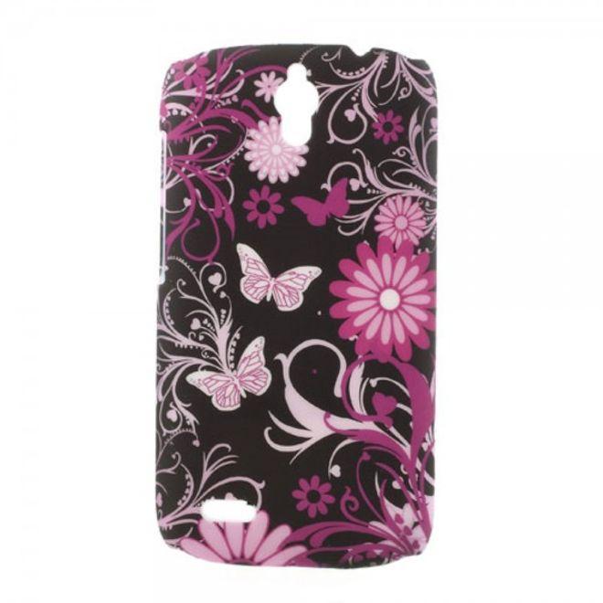Huawei Ascend G610 Hart Plastik Case mit Schmetterlingen und Blumen