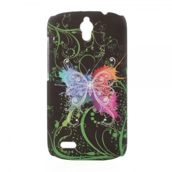 Huawei Ascend G610 Hart Plastik Case mit farbigem Schmetterling - schwarz