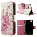 Wiko Birdy Leder Case mit pinken Blumen