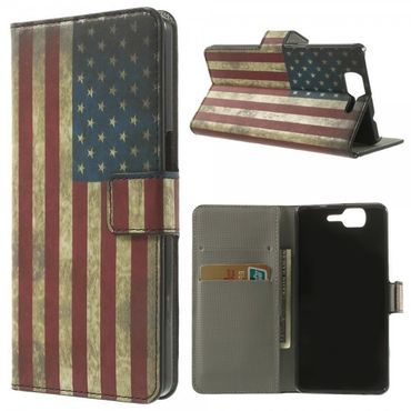 Wiko Highway Magnetisches Leder Case mit USA Flagge retro-style