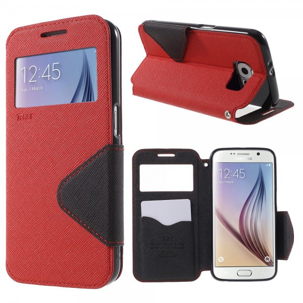 Roar Samsung Galaxy S6 Roar Korea Diary View Leder Case - rot