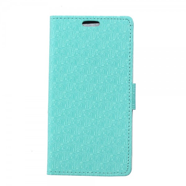Sony Xperia Z4 Leder Case mit Labyrinth Muster und Standfunktion - cyan