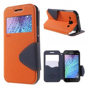 Samsung Galaxy J1 Roar Korea Leder Case mit kleinem Fenster - orange