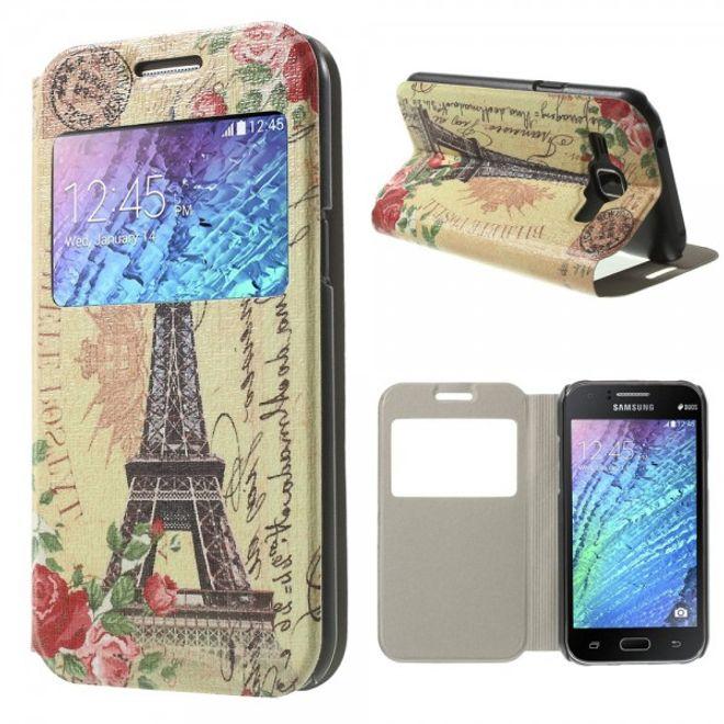 Samsung Galaxy J1 Leder Case mit Eiffelturm und Rosen und Fenster