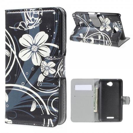Sony Xperia E4/E4 Dual Leder Case mit eleganten, weissen Blumen