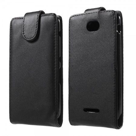 Sony Xperia E4/E4 Dual Magnetisches Leder Flip Case vertikal - schwarz