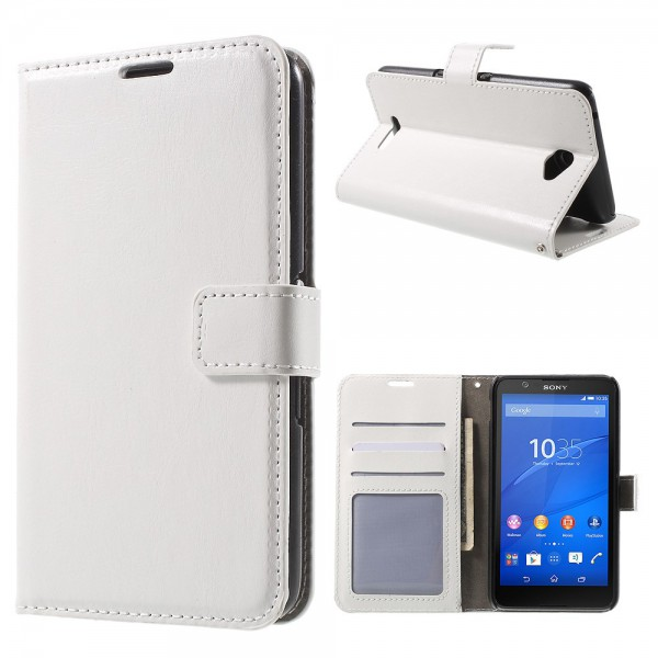 Sony Xperia E4/E4 Dual Crazy Horse Leder Case mit Standfunktion - weiss