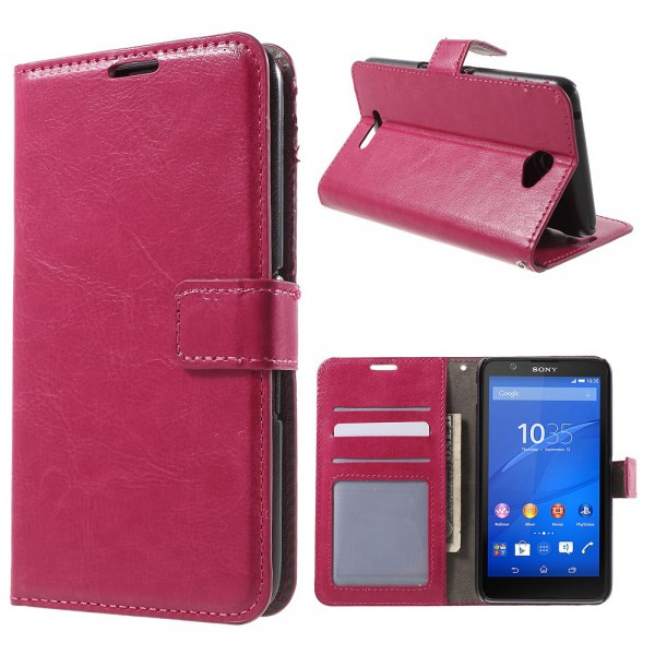 Sony Xperia E4/E4 Dual Crazy Horse Leder Case mit Standfunktion - rosa