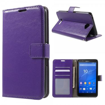 Sony Xperia E4/E4 Dual Crazy Horse Leder Case mit Standfunktion - purpur