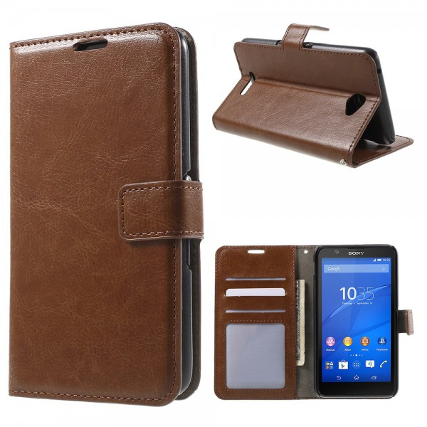 Sony Xperia E4/E4 Dual Crazy Horse Leder Case mit Standfunktion - braun