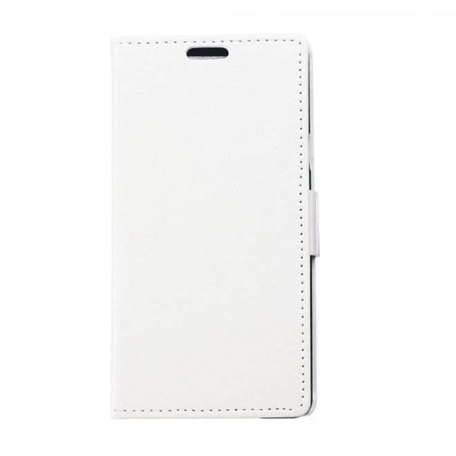 MU Classic Sony Xperia E4/E4 Dual Klassisches Crazy Horse Flip Case mit Standfunktion - weiss