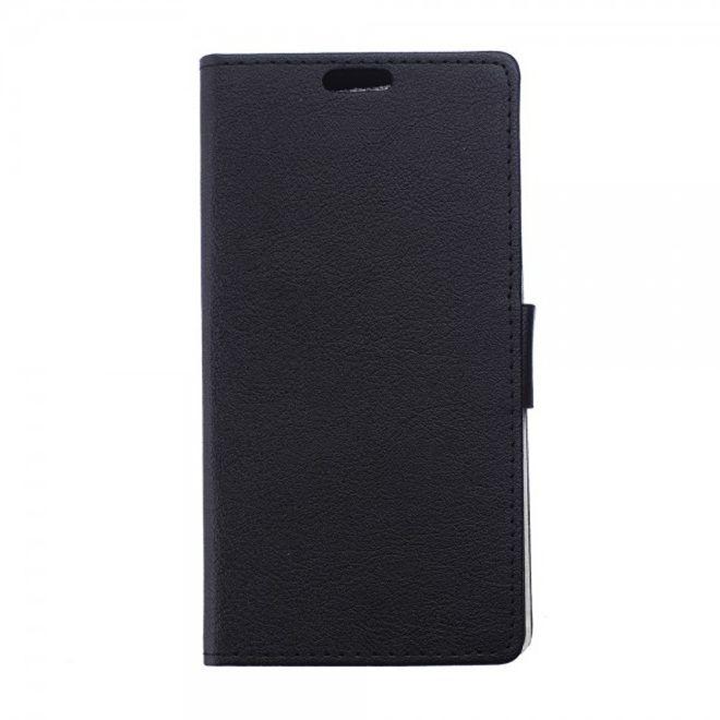 Sony Xperia E4/E4 Dual Leicht texturiertes Leder Flip Case mit Standfunktion - schwarz