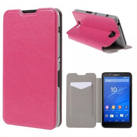 Sony Xperia E4/E4 Dual Crazy Horse Leder Case mit Kreditkartenslots - rosa