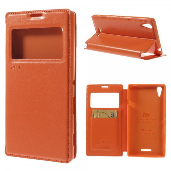 Roar Sony Xperia T3 Roar Korea Nobles Leder Flip Case mit kleinem Fenster - orange